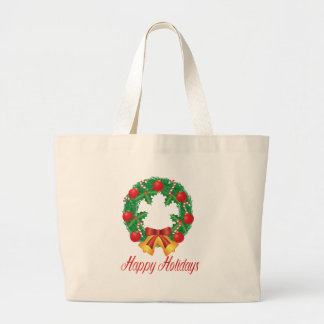 Christmas Wreath with Ornaments Bells and Candy Large Tote Bag