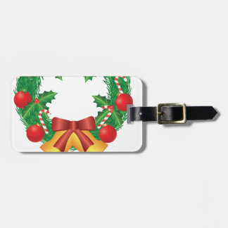 Christmas Wreath with Ornaments Bells and Candy Luggage Tag