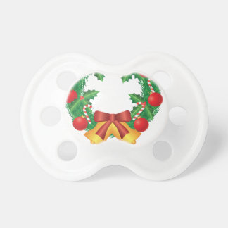 Christmas Wreath with Ornaments Bells and Candy Pacifier