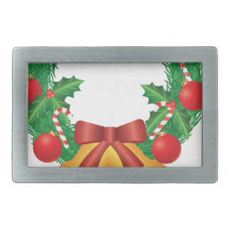 Christmas Wreath with Ornaments Bells and Candy Rectangular Belt Buckles