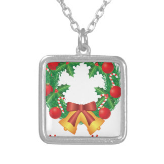 Christmas Wreath with Ornaments Bells and Candy Silver Plated Necklace