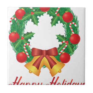 Christmas Wreath with Ornaments Bells and Candy Tile
