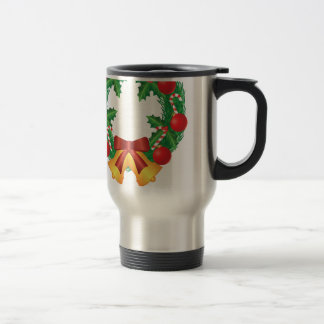 Christmas Wreath with Ornaments Bells and Candy Travel Mug