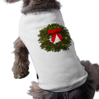 Christmas Wreath with Pine Cones and Red Bow Pet Tee Shirt