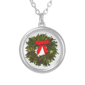 Christmas Wreath with Pine Cones and Red Bow Silver Plated Necklace