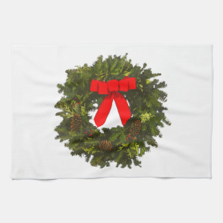 Christmas Wreath with Pine Cones and Red Bow Towel