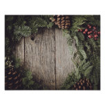 Christmas Wreath with Rustic Wood Background Poster