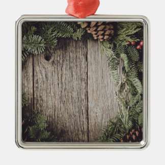 Christmas Wreath with Rustic Wood Background Silver-Colored Square Ornament