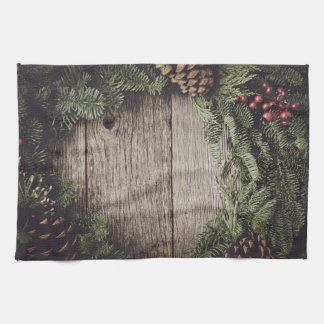 Christmas Wreath with Rustic Wood Background Towels
