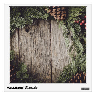 Christmas Wreath with Rustic Wood Background Wall Sticker