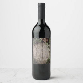Christmas Wreath with Rustic Wood Background Wine Label