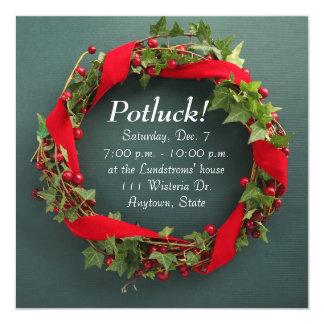 "Christmas wreath with velvet ribbon potluck 5.25"" square invitation card"