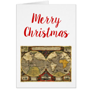 Christmas Xmas Antique World Map #2 Favor Tags Card
