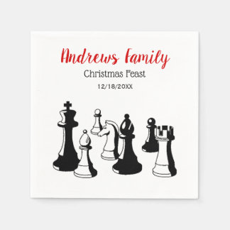 Christmas Xmas - Chess Pieces Vintage Art #2 Disposable Napkins