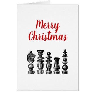 Christmas Xmas - Chess Pieces Vintage Art Card