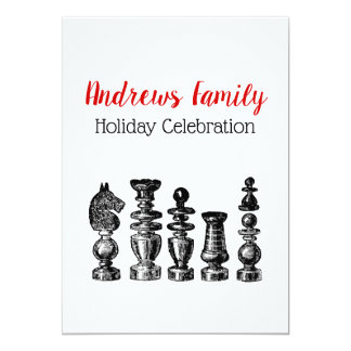Christmas Xmas - Chess Pieces Vintage Art Card