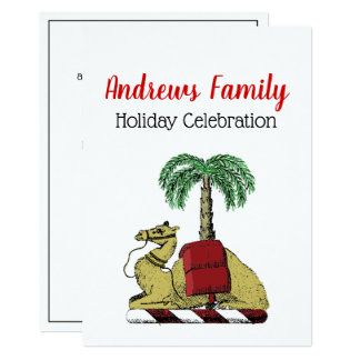 Christmas Xmas Heraldic Camel Palm Tree Color Card