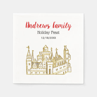 Christmas Xmas Heraldic Castle #2 Crest Faux Gold Paper Napkin