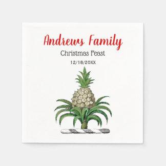 Christmas Xmas Heraldic Pineapple Crest Emblem Disposable Napkin