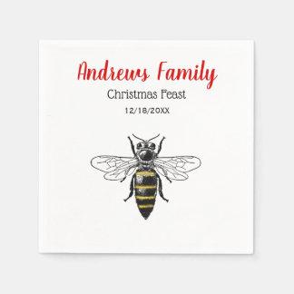 Christmas Xmas Heraldic Vintage Bee #2 Color Disposable Napkins