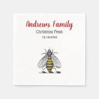 Christmas Xmas Heraldic Vintage Bee Emblem C Disposable Napkins