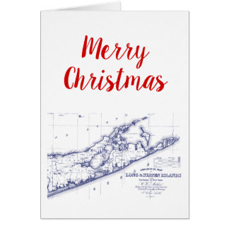 Christmas Xmas Long Island The Hamptons Map VC Card