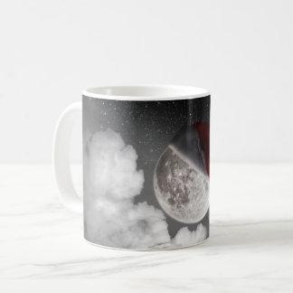 Christmas Xmas Moon wearing Santa Clause hat Coffee Mug
