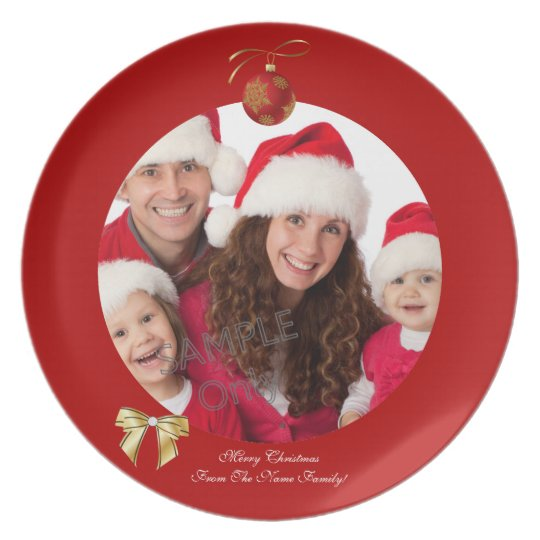 Christmas Xmas Photo Template 2 children family Plate
