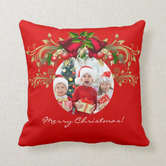 Christmas Xmas Photo Template 4 children family Throw Pillow