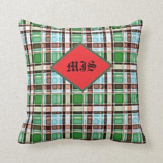Christmas Xmas Red Green Blue Plaid Check Monogram Throw Pillow