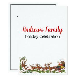 Christmas Xmas Santa Sleigh Reindeer Border Card