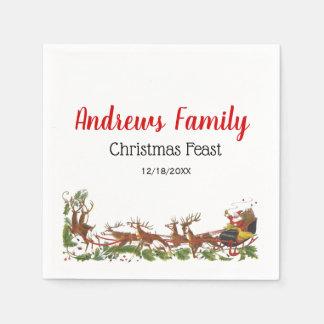 Christmas Xmas Santa Sleigh Reindeer Border Disposable Napkin