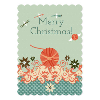 Christmas yarn knitting needles crochet hook angel card