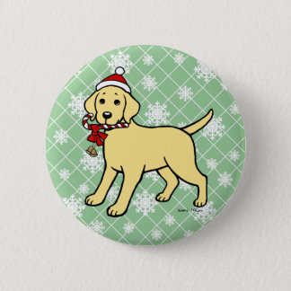 Christmas Yellow Labrador Puppy Cartoon 2 Inch Round Button
