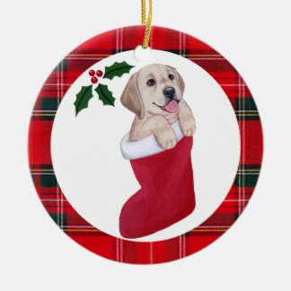 Christmas Yellow Labrador Puppy Tartan Ceramic Ornament