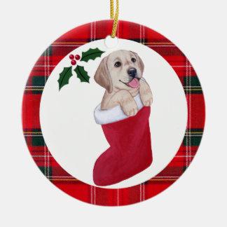 Christmas Yellow Labrador Puppy Tartan Round Ceramic Ornament