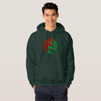christmas yin yang mens hooded sweatshirt