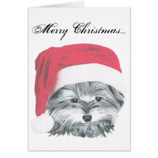 Christmas Yorkie Dog Card