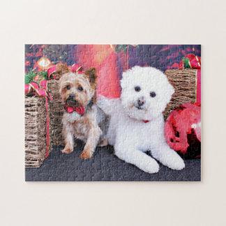 Christmas - Yorkie Max - Bichon Frise Mori Jigsaw Puzzle