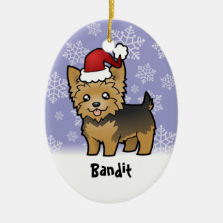 Christmas Yorkshire Terrier (add your pets name) Ceramic Ornament