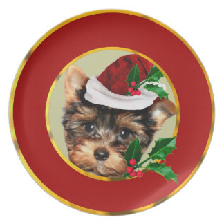 Christmas Yorkshire Terrier dog Dinner Plate