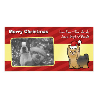 Christmas Yorkshire Terrier (long hair with bow) Photo Card Template