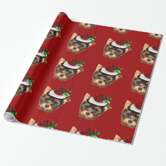 Christmas Yorkshire Terrier red wrapping paper