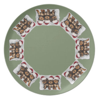 Christmas Yorkshire terriers dinner plate
