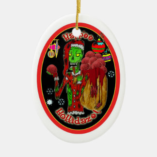 christmas zombie ornament_oval ceramic ornament