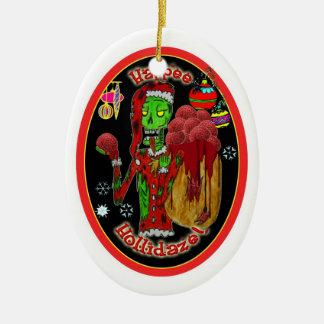 christmas zombie ornament_oval ceramic oval ornament
