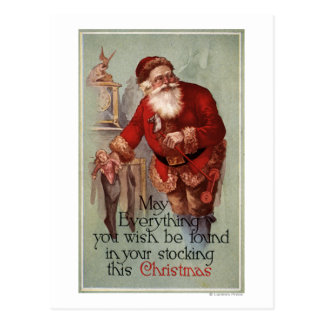 ChristmasFinding Everything in you Stocking Postcard