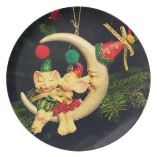 Christmas's mice on the Moon Dinner Plate