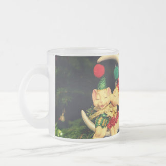 Christmas's mice on the Moon Frosted Glass Coffee Mug