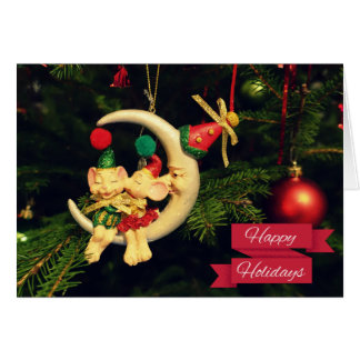 Christmas's mice on the Moon Greeting Card